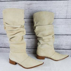 NEW CL Western Cowboy Slouch Suede Knee Boot Stone